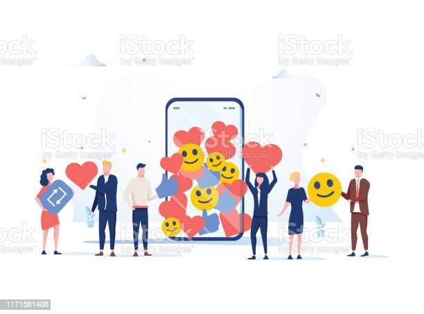 Öka Din Sociala Medier Anhängare Med Framgångsrika Marknadsföringsstrategier Människor Att Föra Gillar Och Reaktioner-vektorgrafik och fler bilder på Affärsstrategi