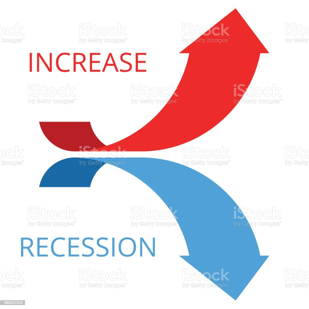Increasing and recession arrows concept flat illustration. vector art illustration