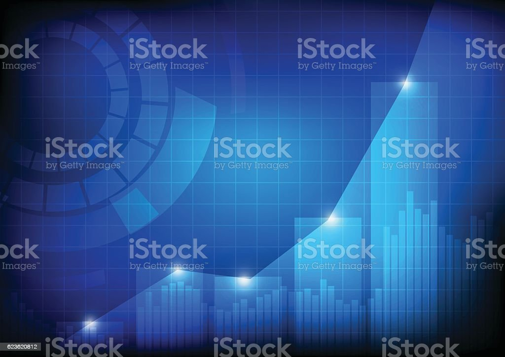 Increasing bars and line graph chart with abstract circle vector art illustration