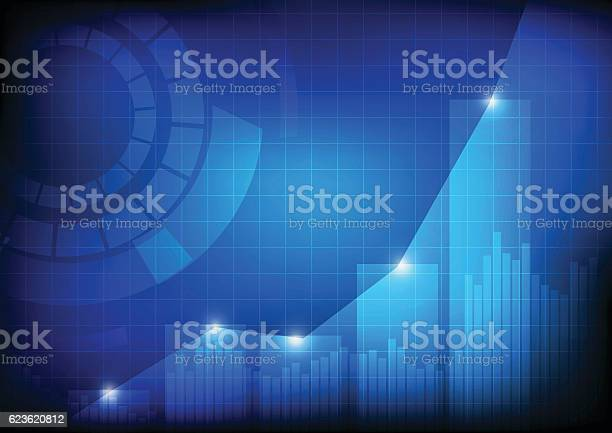 Increasing Bars And Line Graph Chart With Abstract Circle Stock Illustration - Download Image Now