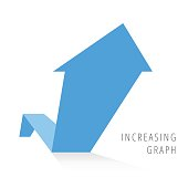Increasing graph concept flat illustration. Blue arrow growth business symbol.