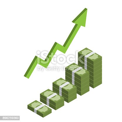 Increasing stack of isometric money with arrow, making profit, revenue growth infographic vector