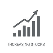Increasing stocks icon. Trendy Increasing stocks logo concept on white background from Business and analytics collection. Suitable for use on web apps, mobile apps and print media.