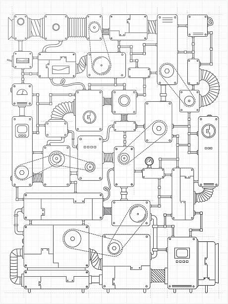 ilustrações, clipart, desenhos animados e ícones de incrível projeto de máquina - mecânico