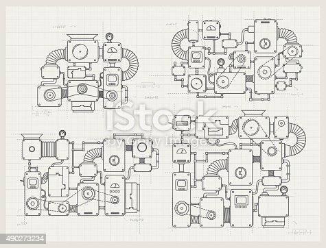 istock Incredible machine projects on paper 490273234