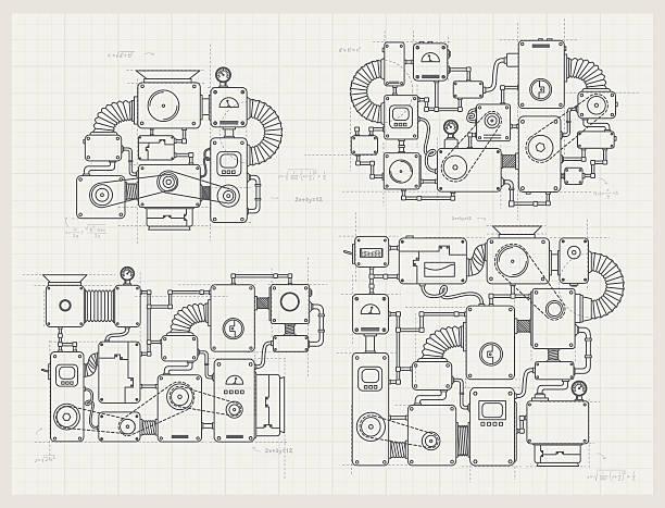 unglaubliche maschine projekte auf papier - steampunk stock-grafiken, -clipart, -cartoons und -symbole
