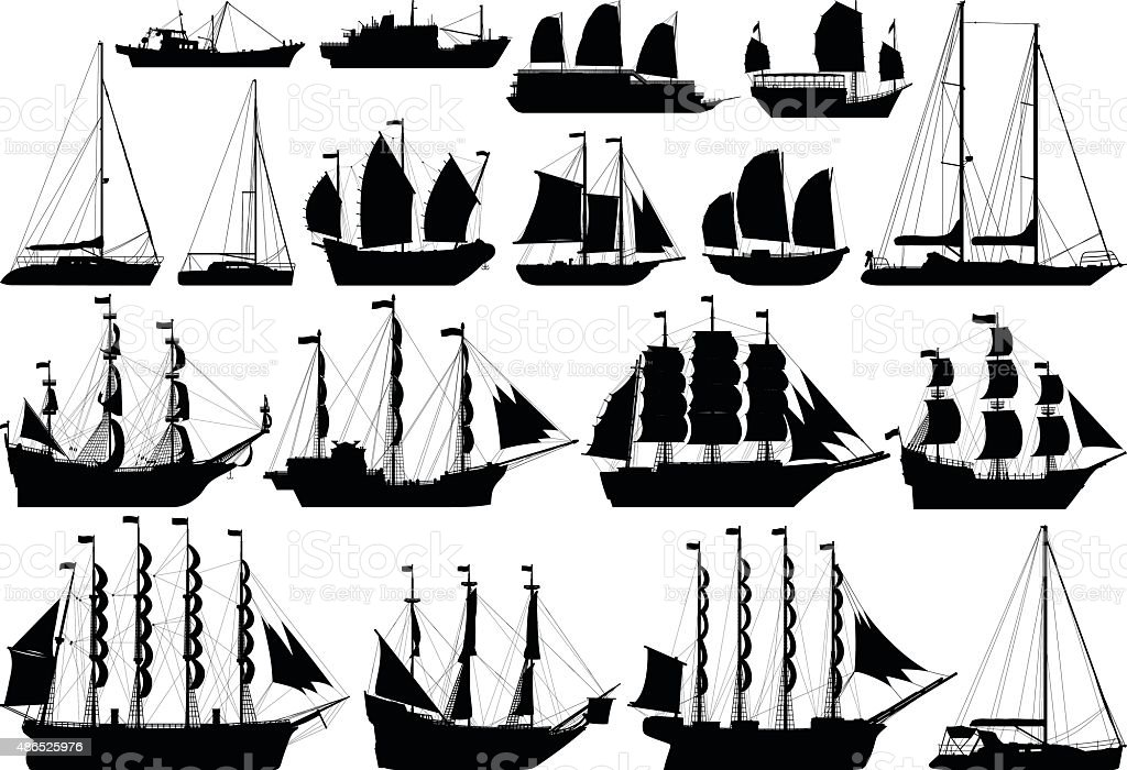 Incredibly Detailed Boats vector art illustration