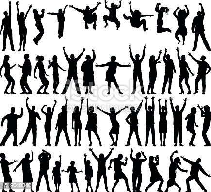 Happy people silhouette.