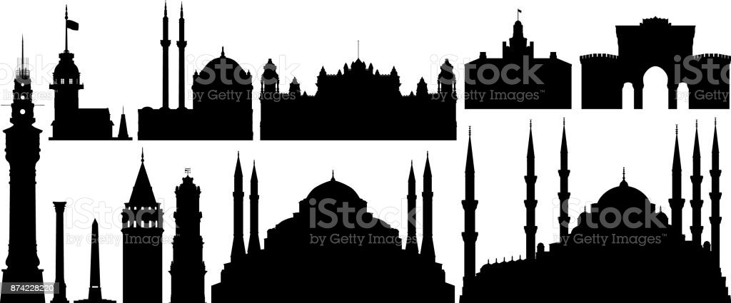 Incredibly Detailed Istanbul Monuments vector art illustration