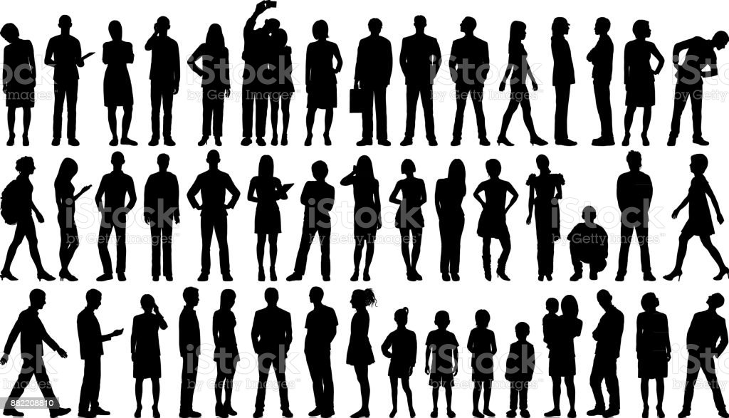 Incredibly Detailed People Silhouettes vector art illustration