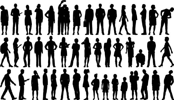 Incredibly Detailed People Silhouettes Highly detailed people silhouettes. in silhouette stock illustrations