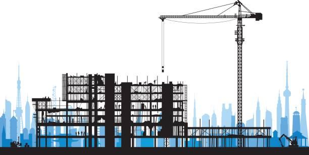 ilustrações, clipart, desenhos animados e ícones de silhueta de andaimes incrivelmente detalhadas - operário de construção