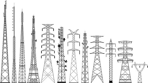 Incredibly Detailed Tower Silhouettes Telephone and electricity towers to a very high level of detail. communications tower stock illustrations