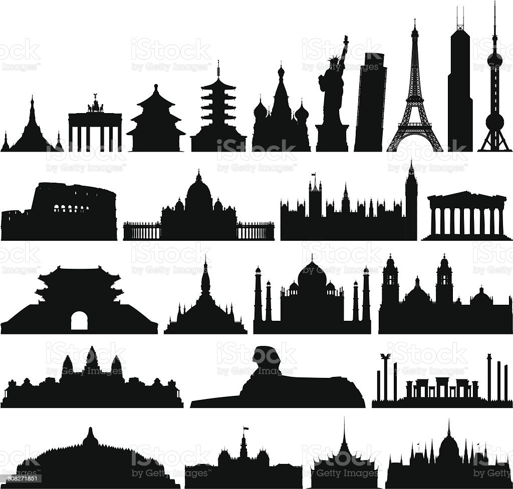 Incredibly Detailed World Monuments vector art illustration