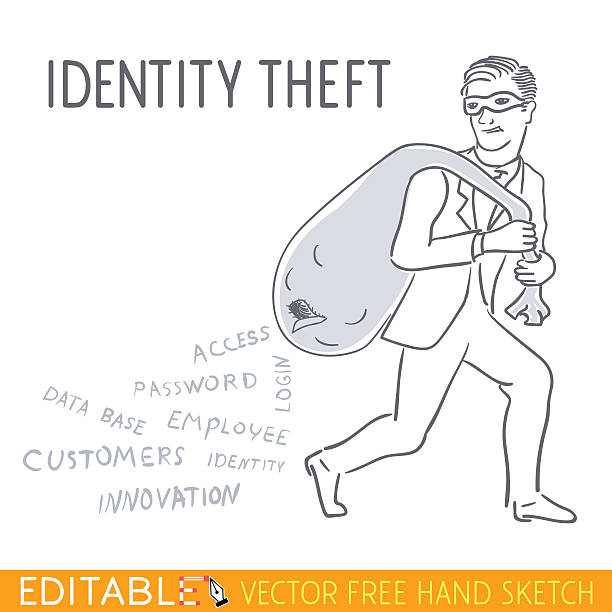 Indentity Theft Editable Vector Illustration In Linear Style