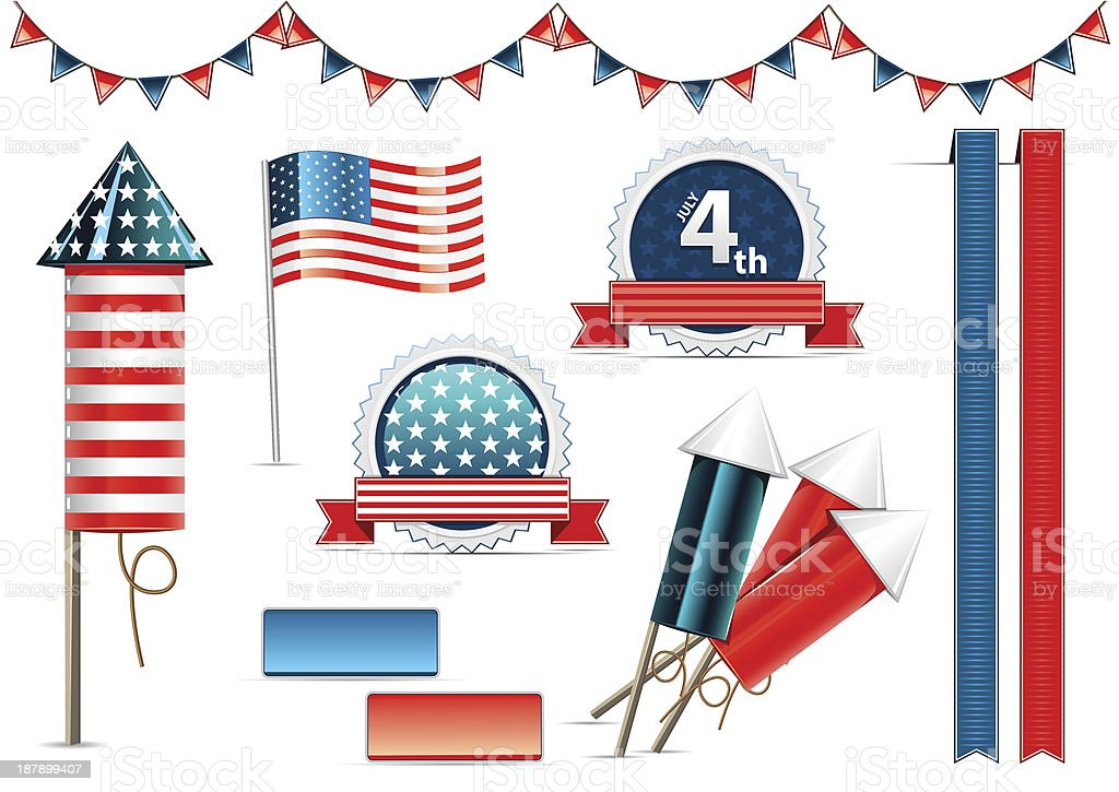 Independece day objects royalty-free stock vector art