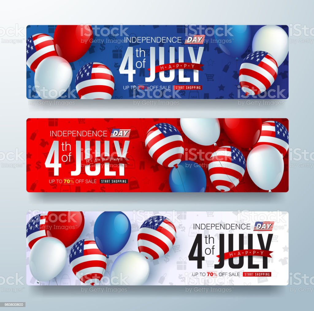 independence 12 Independence day USA sale promotion banner template american balloons flag and Colorful Fireworks decor.4th of July celebration poster template.fourth of july voucher discount.Vector illustration . Advertisement stock vector