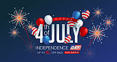 Independence day USA sale promotion banner template Colorful Fireworks decor.4th of July celebration poster template.fourth of july voucher discount.Vector illustration .