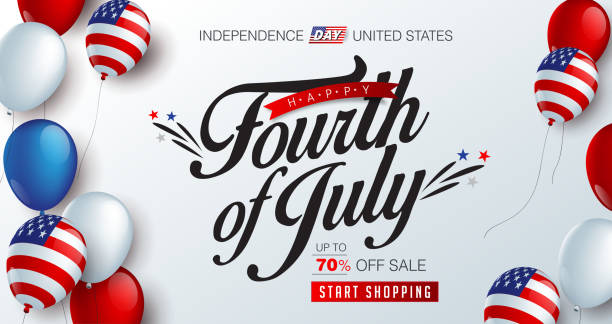 independence 17 Independence day USA sale promotion banner template american balloons flag decor.4th of July celebration poster template.fourth of july voucher discount.Vector illustration . happy 4th of july illustrations stock illustrations