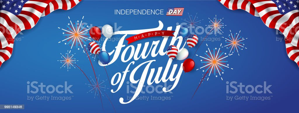 independence 20 Independence day USA banner template american balloons flag and Colorful Fireworks decor.4th of July celebration poster template.fourth of july voucher discount.Vector illustration . Backgrounds stock vector