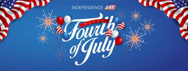 independence 20 Independence day USA banner template american balloons flag and Colorful Fireworks decor.4th of July celebration poster template.fourth of july voucher discount.Vector illustration . independence day holiday stock illustrations