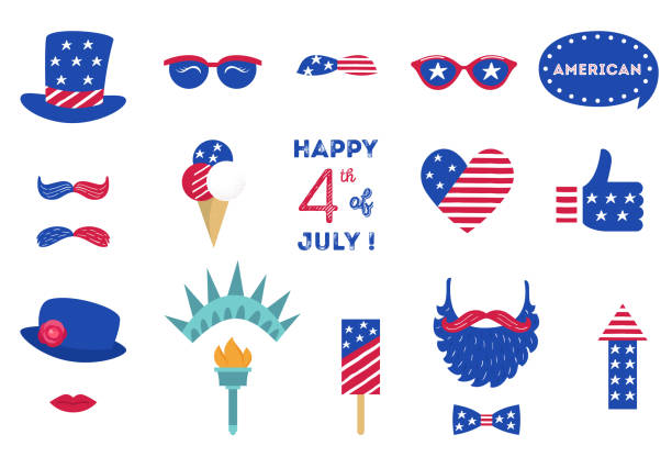 usa independence day 4 th of july photo booth party props of american symbols - happy 4th of july stock illustrations
