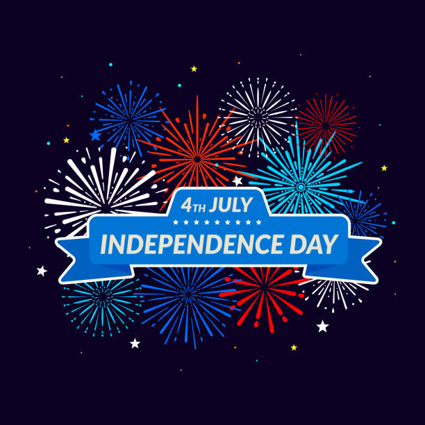 Independence Day 4th of July. Festive fireworks background. vector art illustration