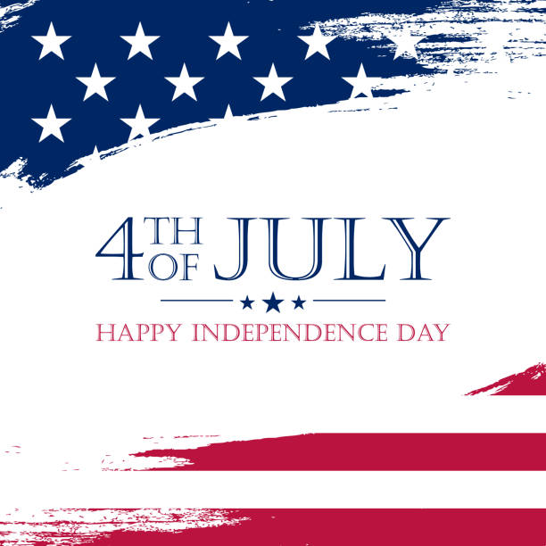 USA Independence Day, 4th of July greeting card with brush stroke background in United States national flag colors. vector art illustration