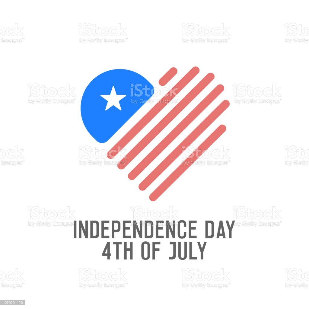 Independence Day, 4th of July. Vector label background for united states of america holiday. American flag with heart shape logo icon vector art illustration