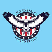 independence day america eagle open wings sticker usa flag peace vector illustration