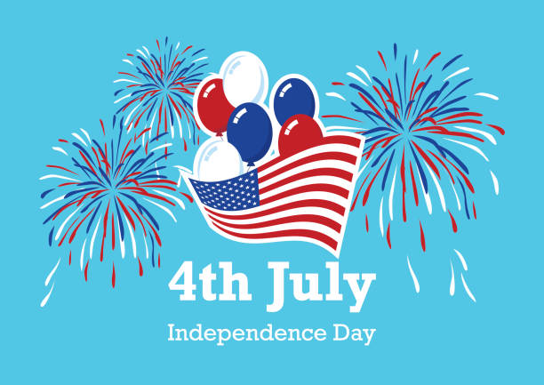 usa independence day american balloons and fireworks vector - happy 4th of july stock illustrations