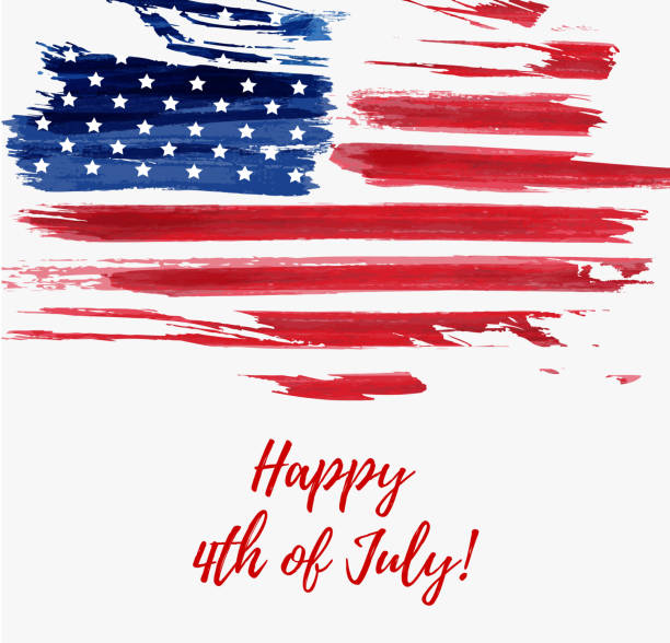 USA Independence day background USA Independence day background. Happy 4th of July. Vector abstract grunge flag with text. Template for banner, greeting card, invitation, poster, flyer, etc. circa 4th century stock illustrations