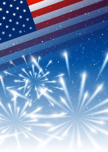 Independence day background with American flag and shiny fireworks Independence day background with American flag and shiny fireworks fourth of july stock illustrations