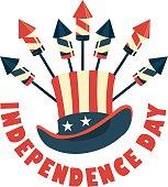 Vector illustration badge hat american symbol festive salute