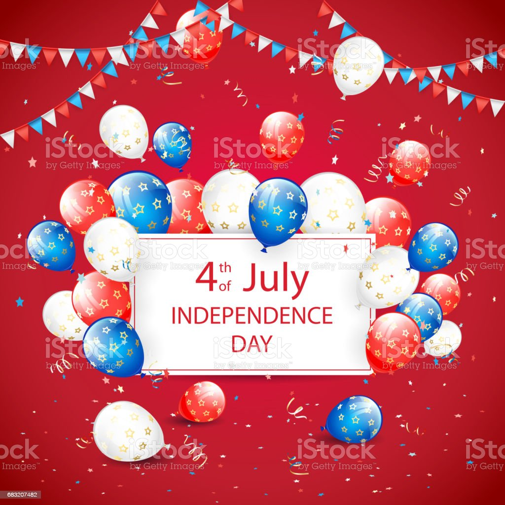 Independence day balloons and tinsel on red holiday background independence day balloons and tinsel on red holiday background - arte vetorial de stock e mais imagens de 4 de julho royalty-free