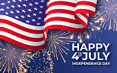 USA Independence day. Banner with waving American national flag and fireworks. 4th of July vector poster template