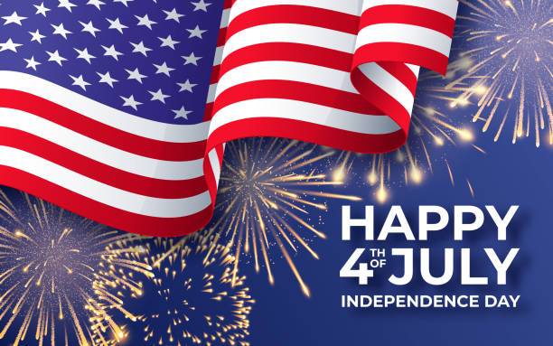 USA Independence day. Banner with waving American national flag and fireworks. 4th of July poster template USA Independence day. Banner with waving American national flag and fireworks. 4th of July vector poster template happiness stock illustrations