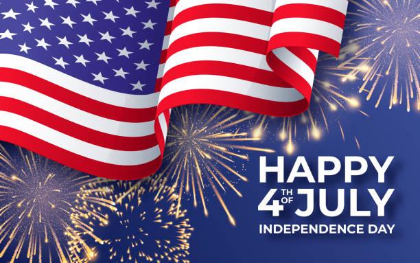 美國獨立日。旗幟揮舞著美國國旗和焰火。7月4日海報範本 - happy 4th of july 幅插畫檔、美工圖案、卡通及圖標