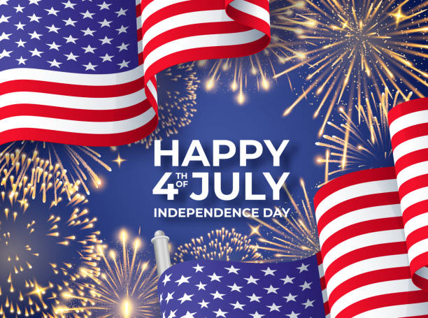 abd bağımsızlık günü. amerikan ulusal bayrakları ve havai fişek sallayarak banner. 4 temmuz poster şablonu - happy 4th of july stock illustrations