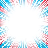Red white and blue abstract burst background with space for your copy.