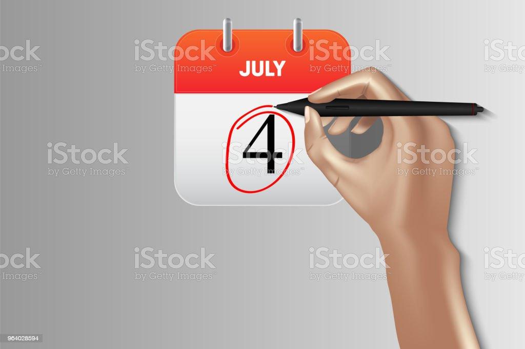 Independence Day calendar, Vector design, Illustration - Royalty-free Calendar stock vector