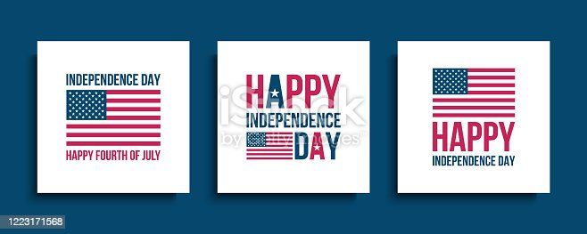 United States Independence Day celebrate cards with american national flag. USA national holiday design templates set. Vector illustration.
