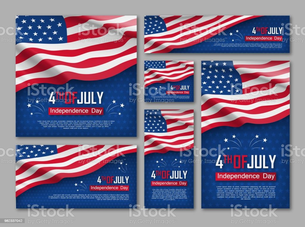 Independence day celebration banners set Independence day celebration banners set. 4th of july felicitation greeting cards with waving american national flag on blue background. USA country federal patriotic holiday. Vector illustration American Flag stock vector