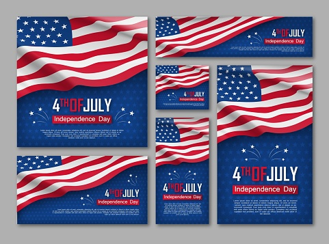 Independence day celebration banners set