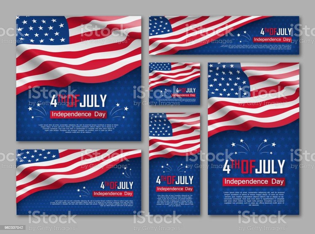 Independence day celebration banners set vector art illustration