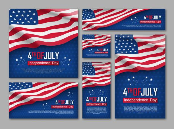Independence day celebration banners set vector art illustration