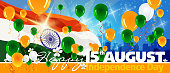 Independence Day Celebration of India banner. Each element in a separate layers. Very easy to edit vector EPS10 file. It has transparency layers with blend effects.