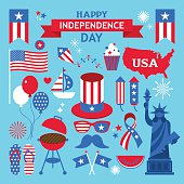 USA independence day clip art. Elements for 4th of July