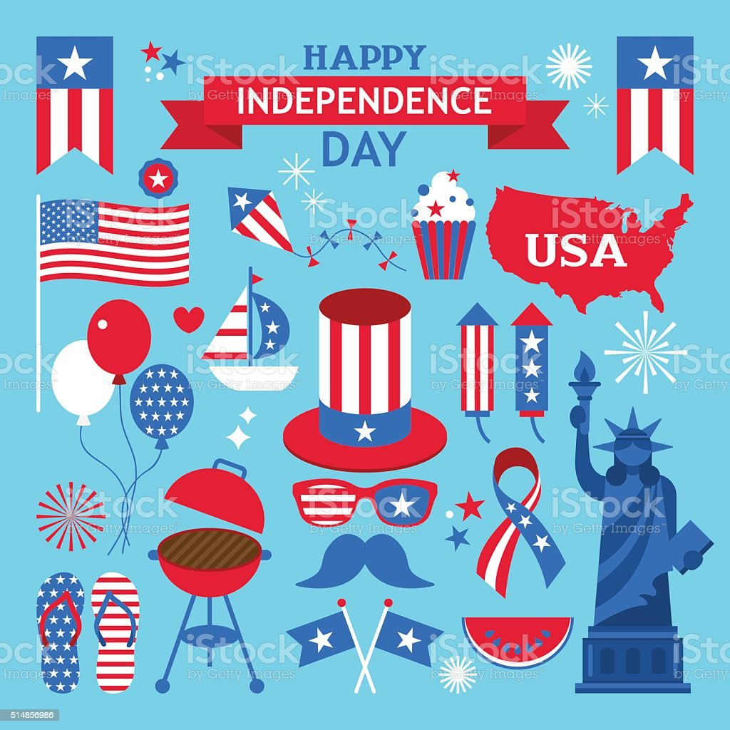 USA independence day clip art. Elements for 4th of July vector art illustration