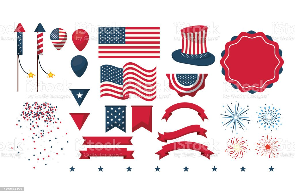Independence day collection Set of independence day elements vector illustration graphic design American Culture stock vector